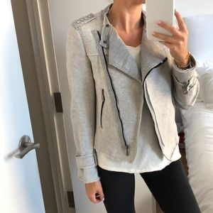 Zara Grey Frayed Studded Zip Up Blazer